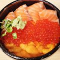 札幌二条市場 どんぶり茶屋 サーモン三色丼